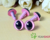 12mm Pink Safety Eyes for Cat / Plastic Eyes - 5 Pairs