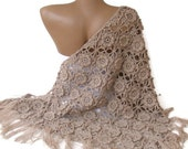 shawl ,women hand crocheted shawl ,beige shawl, Wrap ,Stole ,Shrug ,womens fashion , 3D Flowers - seno