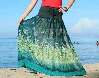 Maxi Skirt Green Floral Long Skirt/ Fall Party Women Skirt Gifts Idea Skirt Chiffon Summer Boho Handmade