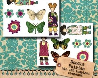 Art Doll Doodle Elements - printable set