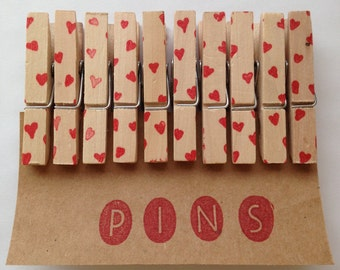 Mini Heart Clothespins - Set of 10 Handstamped Clothes Pins - Perfect for Valentine's Day