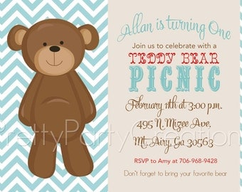 TEDDY BEAR vintage inspired invitation - YOU Print