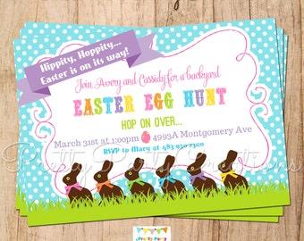 CHOCOLATE BUNNY Easter egg hunt invitation - YOU Print