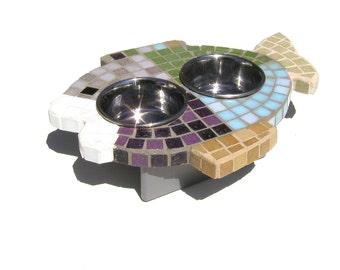 Multi-Colored Mosaic Fish Diner, raised cat bowls, fish shaped mosaic