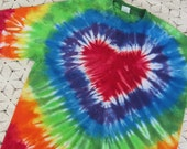 Tie dye shirt,  rainbow heart- Youth Large is ready to ship today