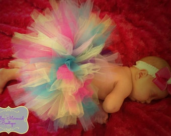 SALE Super Full Newborn 6 Months Premium Tutu Skirt Multi Colored