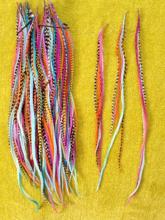 Feather Hair Extension- LONG 5 feather 5 dollars yellow turquoise violet