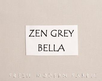 One Yard Zen Grey Bella Cotton Solid Fabric from Moda, 9900 185