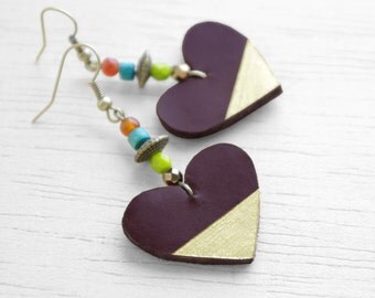 Heart earrings with colorful mix of beads