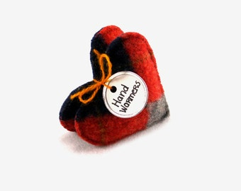 Pocket Hand Warmers CLASSIC ARGYLE HEARTS Felted Wool Eco Chic Masculine Gift