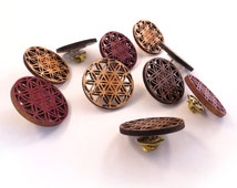 10 Pack SALE Flower of Life Hat Pins - Sustainably Harvested Oak, Walnut or Red Stained Maple