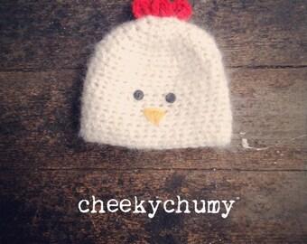 Cheeky chicken hat. Unisex.  Size newborn. Great photo prop.