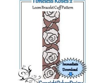 Bead Pattern Loom(Bracelet Cuff)-Timeless Roses 2