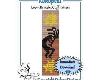 Bead Pattern Loom(Bracelet Cuff)-Kokopelli