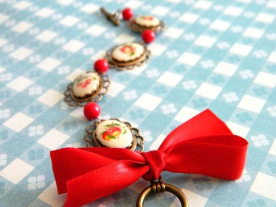 Retro Red Bracelet, Vintage Red Bracelet, Fruit Bracelet, Ribbon Bow Bracelet, Vintage Jewelry, Retro Jewelry, Cherries, Apples, Rockabilly