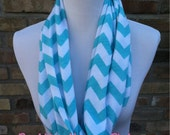 The PERFECT Tiffany Blue chevron loop jersey infinity scarf