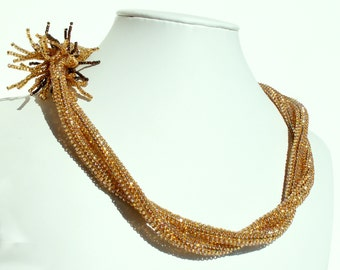 Necklace, Beaded Golden Twist