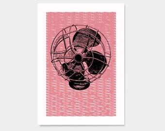 Fan - Hand Printed Art Print - 5X7
