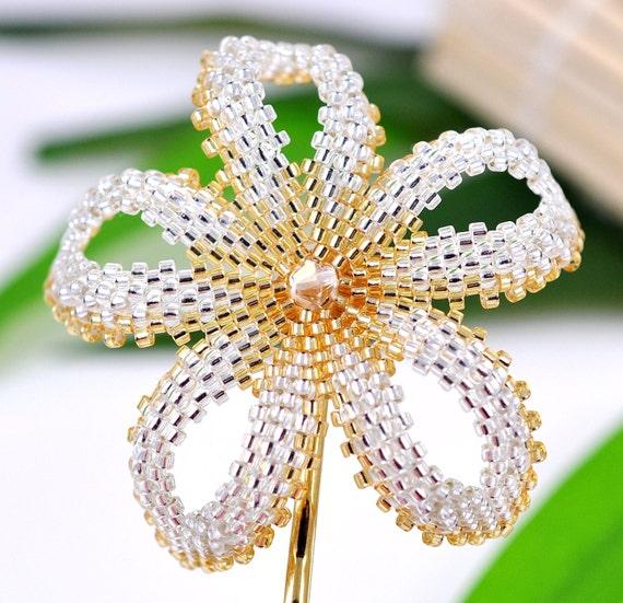 Тропический цветок для волос - серебро и золото Плюмерия - Гавайский цветок заколка