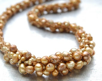 Freshwater Pearl Yarn Necklace - Hand-knitted from Honey Colored Nylon Yarn with Golden Freshwater Pearls & Accent Cluster - Bridal