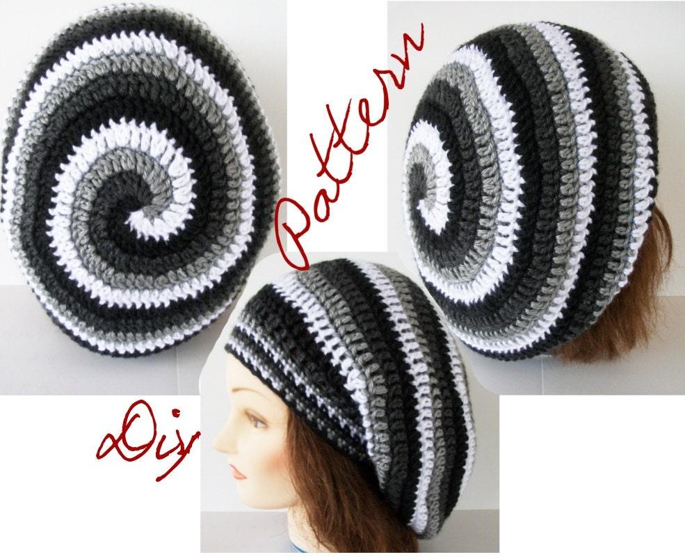 Crochet Hat Pattern Spiral : Crochet Pattern: Ombre Spiral Slouch Hat Pattern Monochromatic
