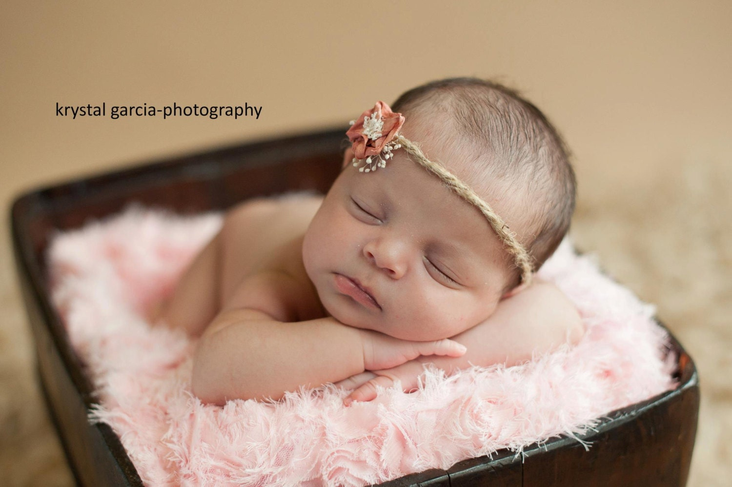 Newborn Girl Jute Headband with Flower. Shabby Chic Baby