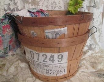 Charming Pr 2 Vintage Bushel Baskets with labels