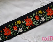 Vintage Japanese Wide Embroidered Floral Ribbon