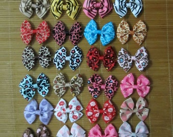 Set of 20 pieces 3 inch wholesale hair bows wholesale zebra hair bows 29 colors to choose, attached with a 45mm single prong alligator clip
