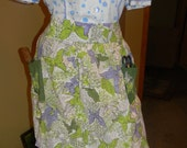 1950s One of a kind hand sewn Kitsch Apron .Atomic 50S periwonkle blue & Lime Green Butterflies Fabric BUTTERFLIES