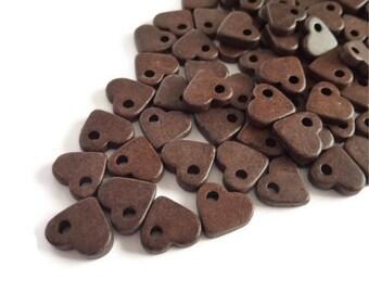 Brown heart beads Greek Ceramic heart Beads 30 pcs C 10 216
