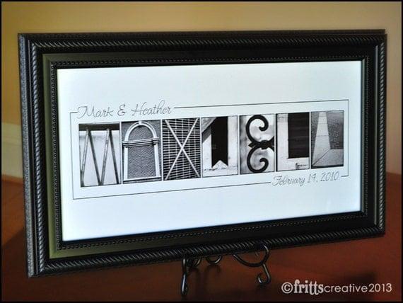 Last Name Sign for WEDDINGS - BW Alphabet Photography  -10x20 Print UNFRAMED