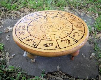 Wood burned Zodiac Table light background, Zodiac altar, sun sign, Wiccan altar, portable altar, tabletop altar, short altar, Wiccan table