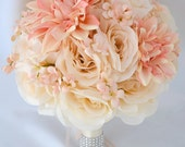 "17 Piece Package Silk Flower Bouquet Wedding Arrangements Artificial Flowers Bridal Bouquets PEACH IVORY ""Lily of Angeles"" IVPI02"