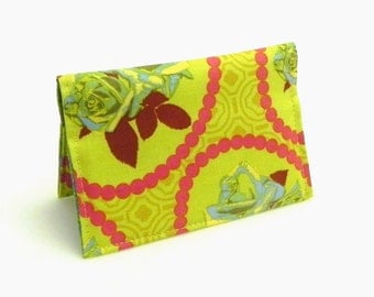 Business Card Holder - Roses in chartreuse green, aqua and pink