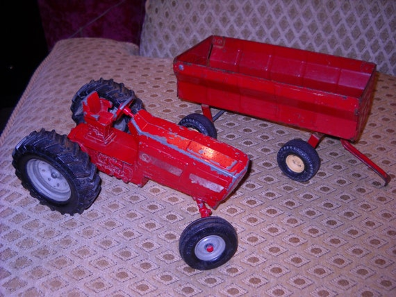 Farm Equipment Replacement Parts : Vintage ertl toy tractor and trailer set by
