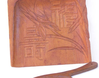 Crumb Catcher, Hand Carved Silent Butler, Wooden Dust Pan, Japanese Carving of Lotus Flower, Japanese Characters