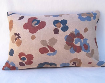 Handmade Lumbar Pillow with Feather/Down Fill, Hand Printed Floral Pattern Fabric, Designer Print