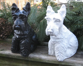 Black and White SCOTTISH TERRIER Concrete Statues (Set of TWO)
