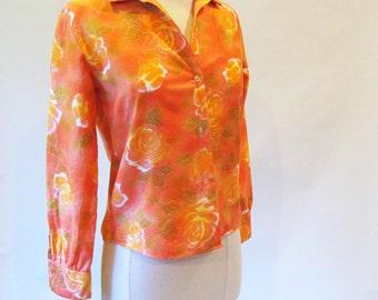 Vintage 60s Blouse, Cotton Orange Long Sleeve Button Down Shirt