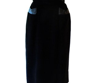 Vintage Black Skirt, 1950s Pencil Skirt, 50s Black Skirt, Velvet Skirt