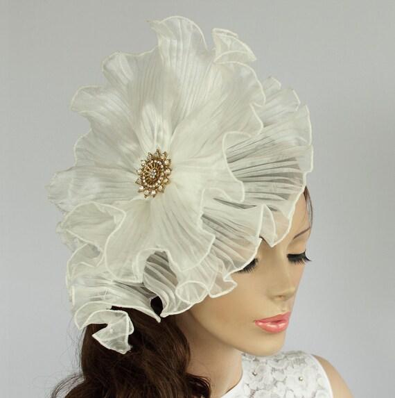 White Organza Bridal Head Piece III: Ruffled Weddings Hat Fascinator, Rhinestone Accented.  Handmade