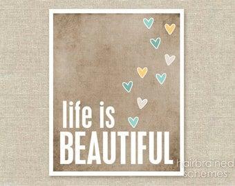 Poster Life Beautiful - Beautiful Life Art Print - Taupe Brown Yellow Blue Hearts