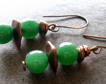 Jade Green Agate and Copper Earrings