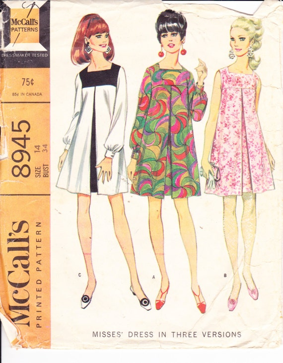 1960s Vintage Womens Sewing Pattern Mod Dress Mccall S