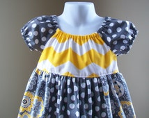 Girl's Infants Toddlers Peasant Dress - Yellow Chevron and Gray Floral