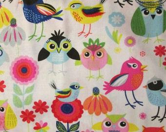 Owls Birds Flowers Cotton Fabric Quarter 9 And Half Inch Cut