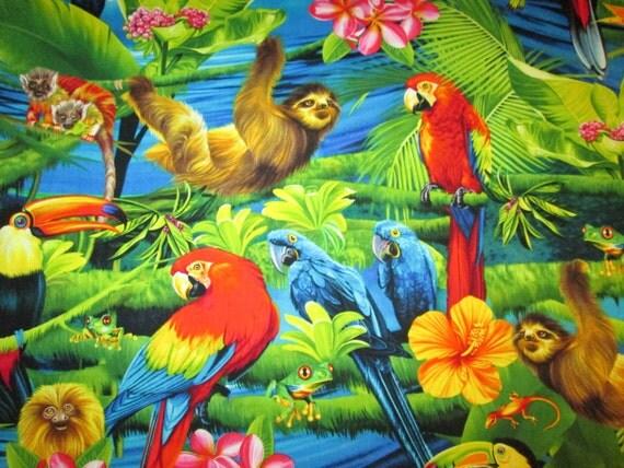Items Similar To Jungle Sloth Monkey Parrot Birds