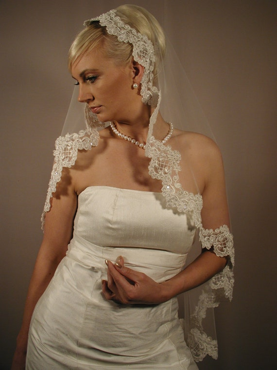 Mantilla veils hand beaded pearls with sequins lace veils
