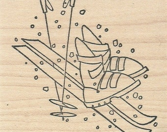 Downhill Ski Equipment - Wood Mounted Rubber Stamp